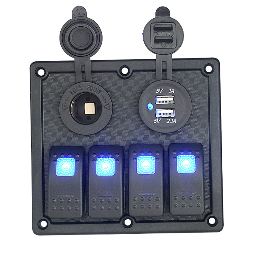 marine boat switch panel switches dual usb car charger cigarette lighter socket waterproof yacht cockpit rv atv rocker switch in car switches relays from  [ 900 x 900 Pixel ]