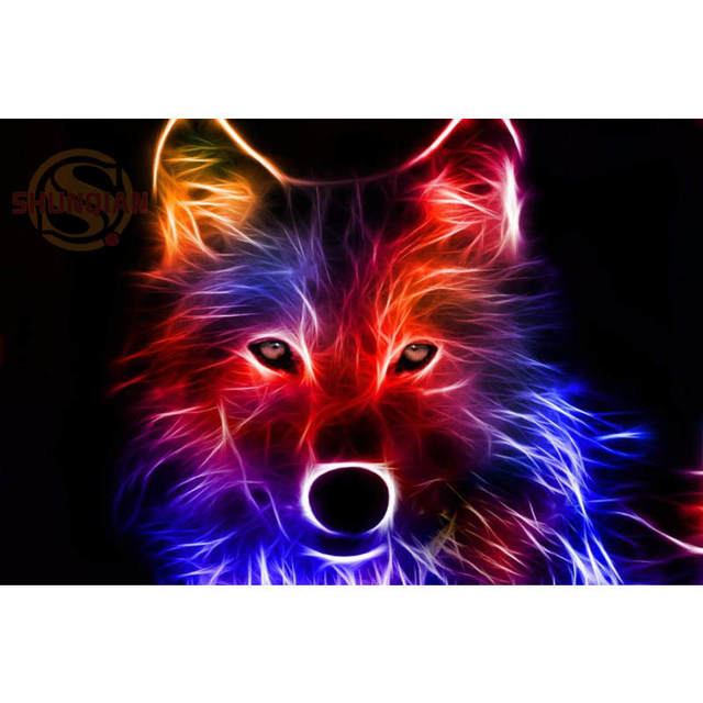 New Cool Wolf Animal Poster Custom Satin Print Cloth Fabric Wall Silk