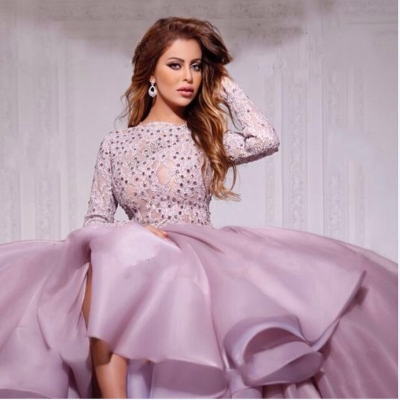 Lilac Evening Dresses 2019 Ball Gown Long Sleeves Tulle Lace Crystals Formal Islamic Dubai Kaftan Saudi