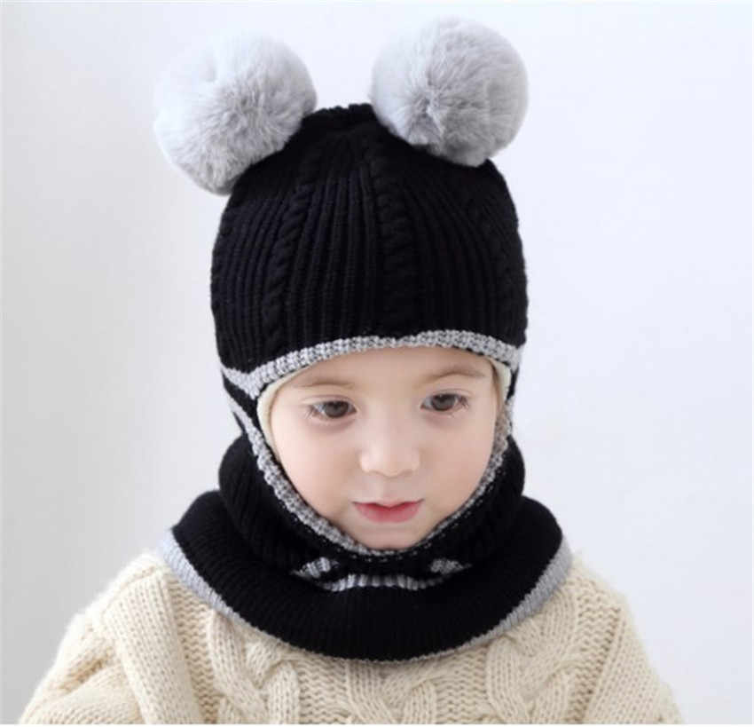 15c2b6731bc ... Yyun Children winter Balaclava Boys Girls Warm Soft Knit Beanie Scarf  Toddler Kids Pompom Face Mask ...