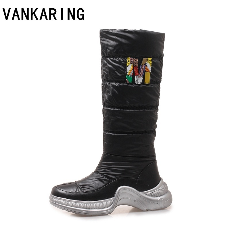 VANKARING 2018 hot sale woman pu leather+down winter boots faux fur women's snow ankle boots warm wedge high heel winter boots faux fur knitted bowknot snow boots