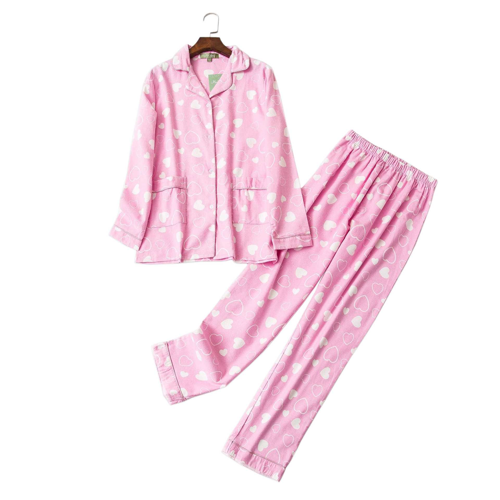Cute Pink heart 100% cotton   pajama     sets   women lovely long sleeve sexy pijamas mujer winter brushed cotton warm home sleepwear