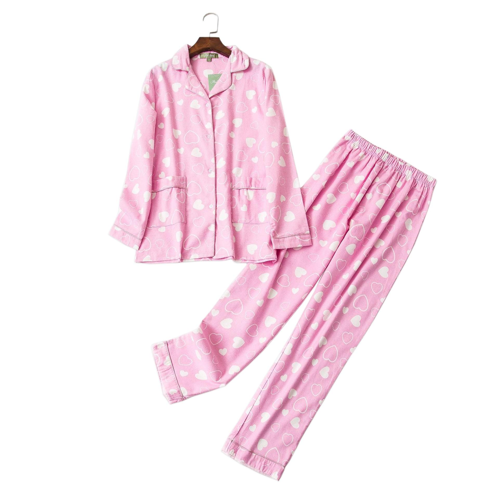 Cute Pink heart 100% cotton   pajama     sets   women lovely long sleeve sexy pijamas mujer winter brushed cotton warm home sleepwear