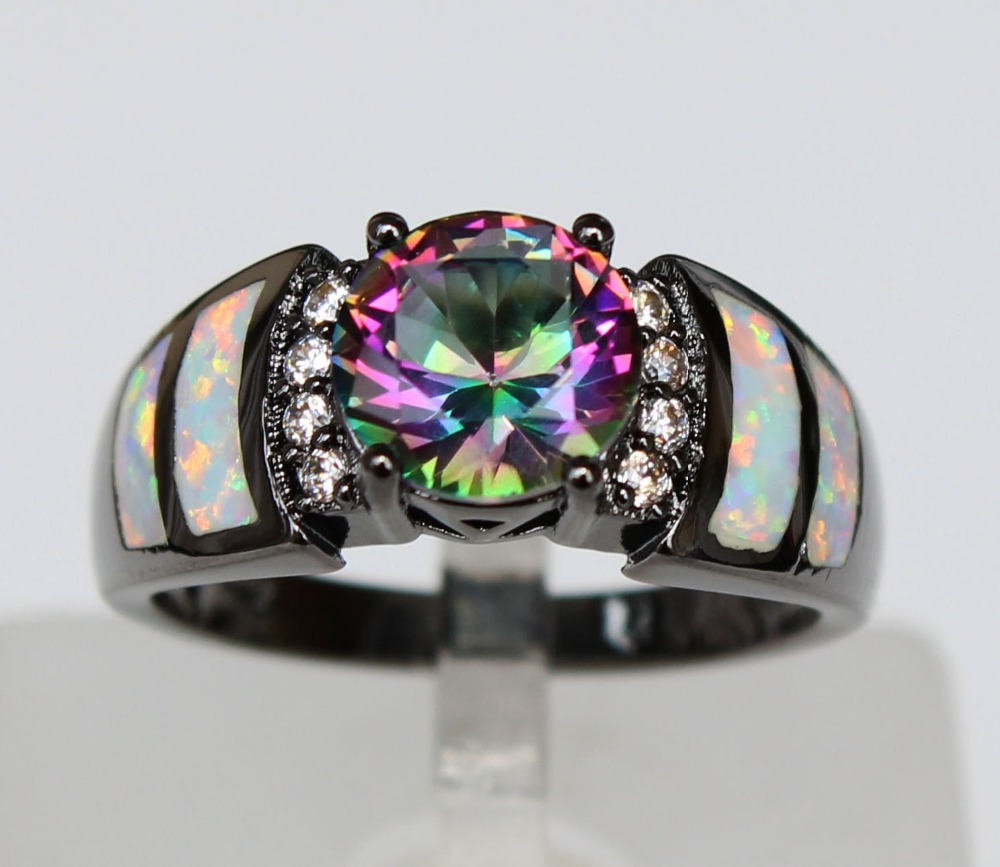 Graceful Black Rhodium Plated White Fire Opal Rings With