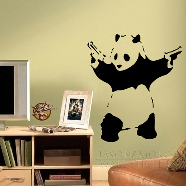 Banksy Cool Panda Removable Vinyl Wall Stickers Decal Mural ...
