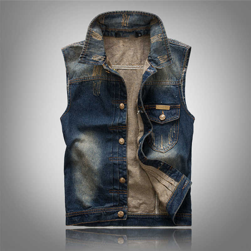 Solid Dark Blue Color Denim Vest Men's Punk Rock Style Waistcoat Motorcycle Sleeveless Jacket 2018 Clothes
