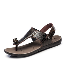 Big Size 12 13 Men's Leather Casual Beach Flat Thongs T-Strap Flip Flop Summer Sandals Outdoor Slides Shoes