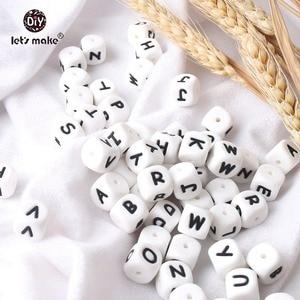 Image 4 - Vamos fazer 500 pçs alfabeto letras 12mm grau alimentício silicone diy dentição colar 26 letras bpa livre silicone mordedor grânulos