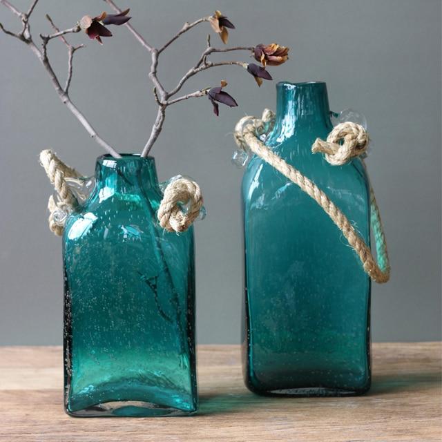 Large New Phase Lotus Flower Hand Blown Glass Vase Bottle Rope