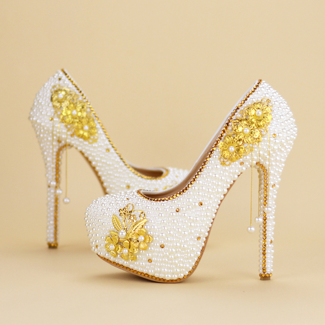 New Gold Rhinestone Pearl Bridal Shoes High Heel Shoes Womens Fashion Bride Party Wedding Handmade