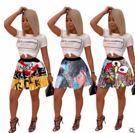 2019 Dashiki  African Women Clothing Summer Eye Mouth Cartoon Print Vintage Mini African  Pleated Skirts Party Club Fashion Acti