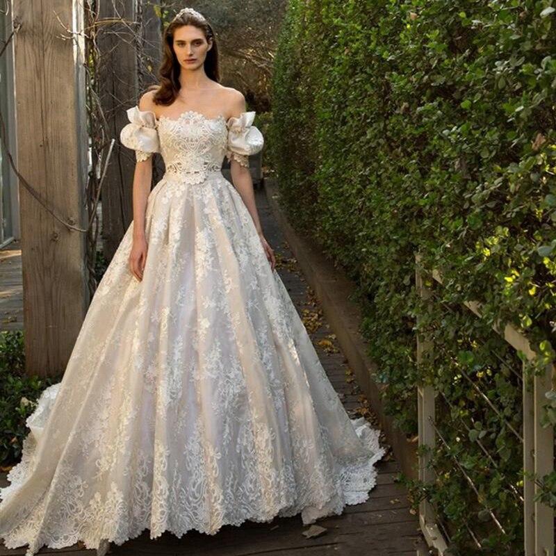 2016 Lace A Line Vintage Bows Wedding Dresses Boat Neck Puff