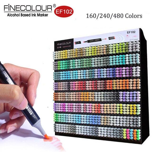Finecolour EF102 מברשת אמנות סמני קנס מברשת טיפ 480 צבעים מקצועי מנגה פרמייר פעמיים הסתיימו סמני עבור ציור