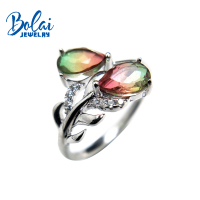 Bolaijewelry,feather shape rings natural multicolor crystal gemstone in 925 sterling silver fine jewelry for lady best gift box