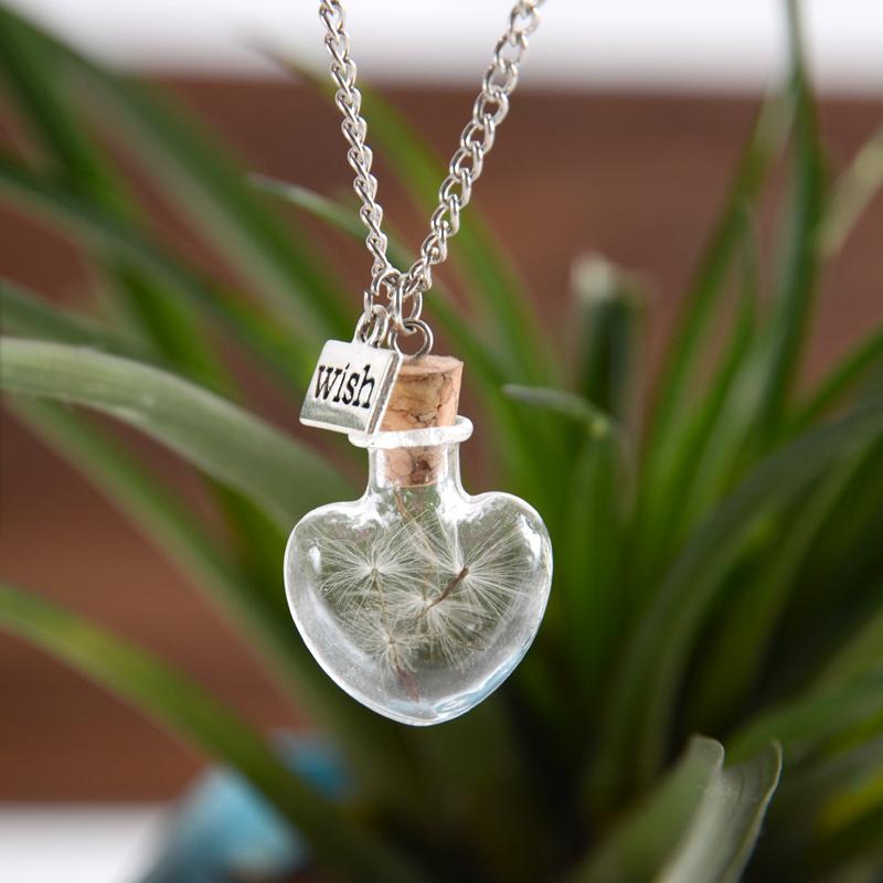 Cute Heart bottle Wish Vial Necklace