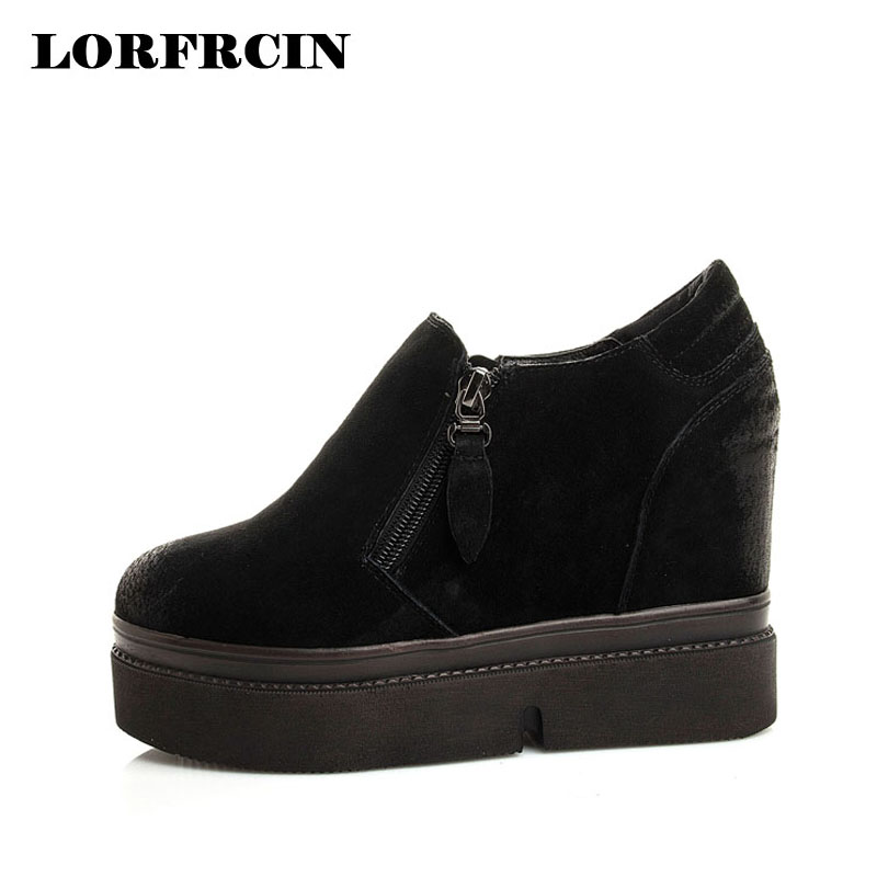 LORFRCIN Women Shoes 9.5 cm High Heels Genuine Leather Slip On Platform Wedges Shoes Height Increasing Autumn Shoes Woman Pumps low cut women s shoes genuine leather slip on women pumps round toe platform high heels vintage women wedge shoes
