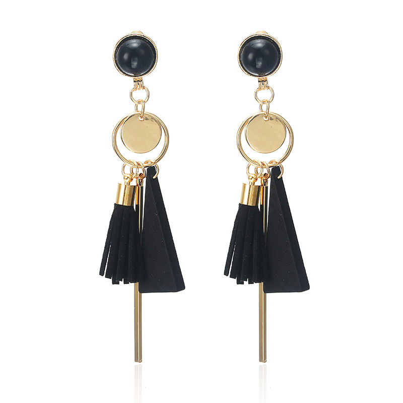 Personality Fashion triangle geometric wood earrings Retro female tassel long women earrings Jewelry 6