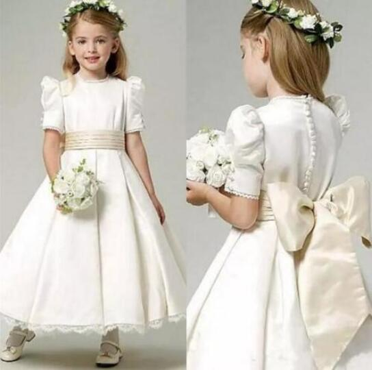 Little Girls Wedding Gowns: Vintage Ivory Flower Girl Dress For Wedding Jewel Neck