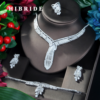 HIBRIDE New Luxury Design  CZ Dubai Wedding Bridal Jewelry Sets For Wedding Accessories Jewelry Necklace Bangle Sets N-798