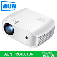 AUN LED Projector F10, 1280x720p,2800 Lumens. HD Video Projector. MINI Projector for HomeTheater,3D Beamer. Support 1080P, HD IN