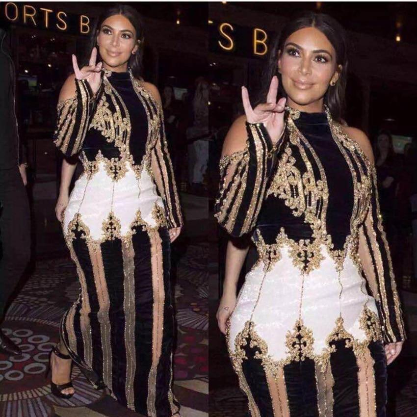 Nuovi modelli vestito Kardashian stella pista di lusso pesante In Rilievo Senza Bretelle lunghi scarni