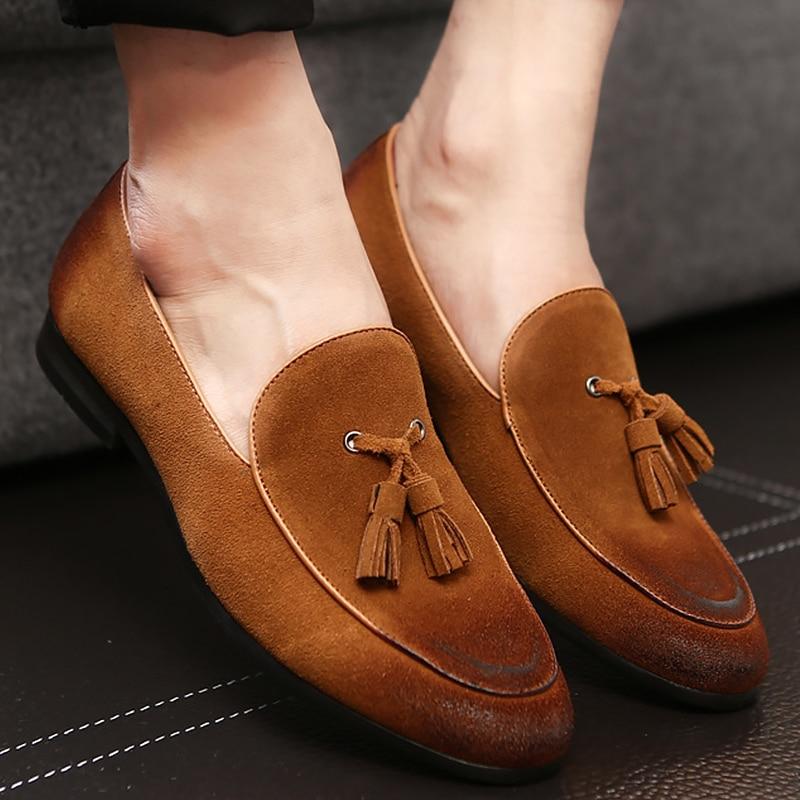 Tassel shoes men lazy shoes 2018 old style lace-up waterproof leisure faux suede shoes zapatos hombre plus size 38-47