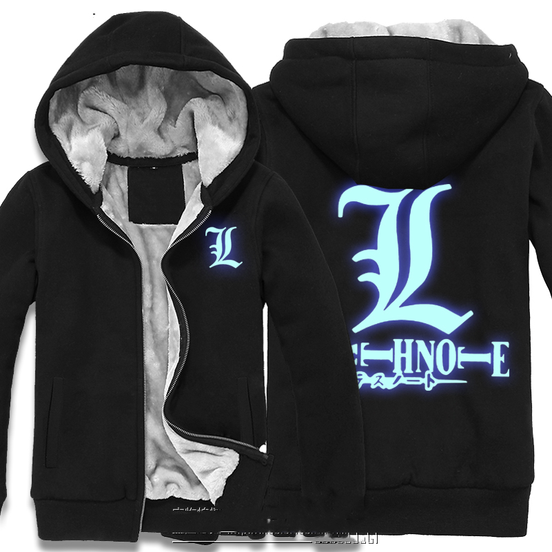 Japan font b Anime b font Death Note Thick Fleece Mens Outwear Big Yards Cotton Hoodie