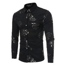 새로운 꽃 프린트 셔츠 남성 슬림 피트 Chemise Homme 2017 럭셔리 브랜드 로즈 플라워 프린트 남성 드레스 셔츠 Camisa Social Masculina