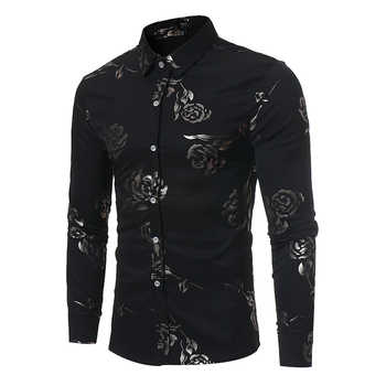 New Floral Print Shirt Men Slim Fit Chemise Homme 2017 Luxury Brand Rose Flower Print Mens Dress Shirts Camisa Social Masculina - DISCOUNT ITEM  53% OFF All Category