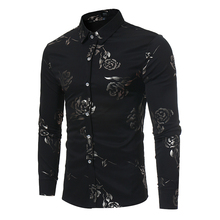 Nieuwe Bloemenprint Shirt Mannen Slim Fit Chemise Homme 2017 Luxe Merk Rose Bloemenprint Heren Overhemden Camisa Sociale masculina