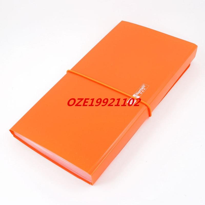 1PCS Orange Plastic Shell Elastic Strap Closure 13 Page Letters Paper File Folder