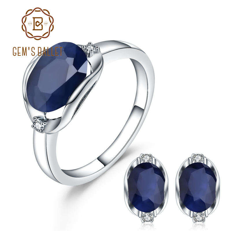 GEM S BALLET Natural Blue Sapphire Gemstone Ring Earrings Jewelry Set For Women 925 Sterling Silver