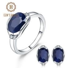 925 prata esterlina jóias de noivado de gorgeou de prata esterlina brincos de anel de pedra preciosa de safira azul natural