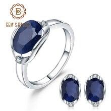 GEMS בלט טבעי כחול ספיר חן טבעת תכשיטי עגילי סט לנשים 925 סטרלינג כסף Gorgeou אירוסין תכשיטים