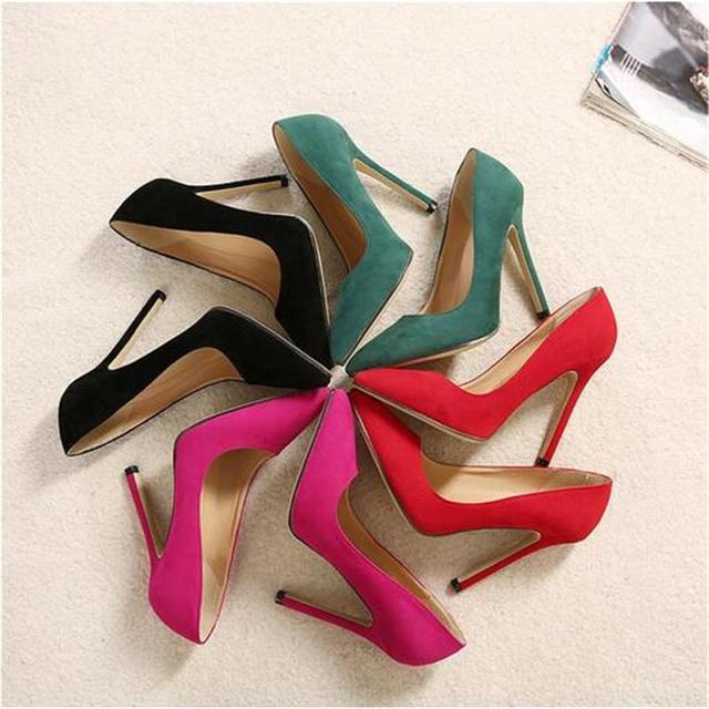 Suede Tacones Altos Zapatos de Las Mujeres 11 CM Super Alta Negro Rojo Stilettos verde Salto Bombas En Punta Sexy Mujer zapatos de Tacón de La Boda zapatos