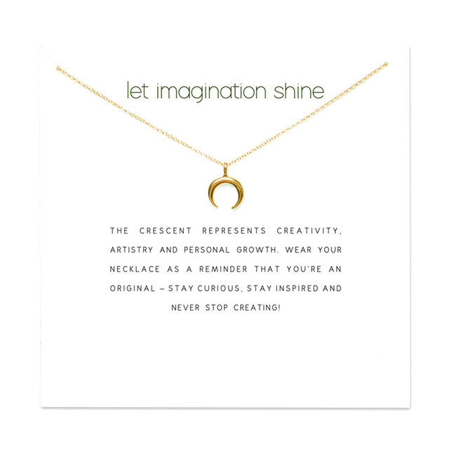 a1d79f9ab3d50 2018 New Crescent Moon Pendant Short Chain Choker Necklace For Women Golden  Heart wish necklace with card Jewelry As gift Shine-in Pendant Necklaces ...