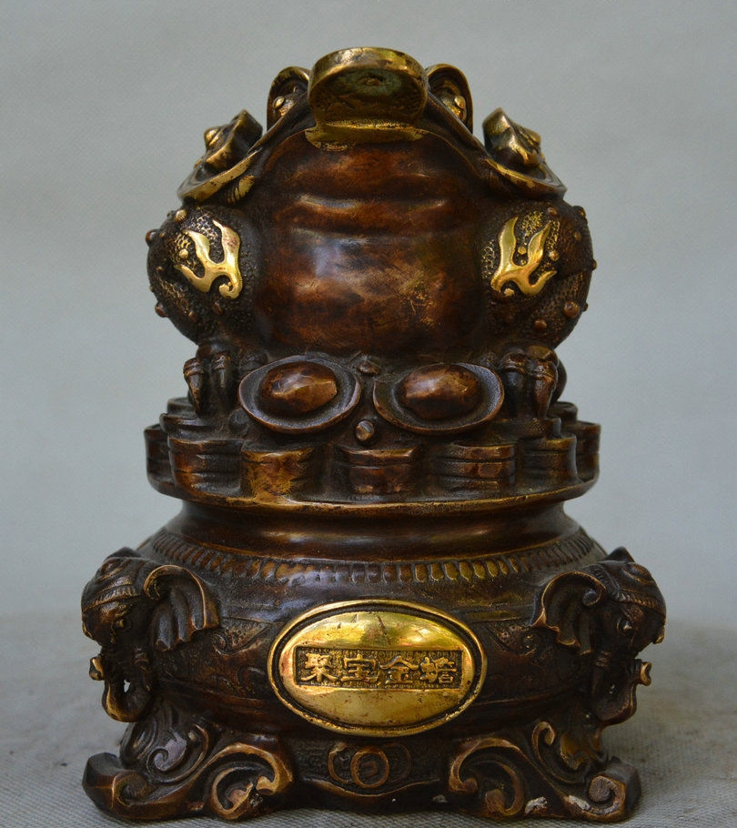 6 China Bronze Gilt Treasure Bowl Toad Elephant Head Yuanbao Coin Incense Burner6 China Bronze Gilt Treasure Bowl Toad Elephant Head Yuanbao Coin Incense Burner