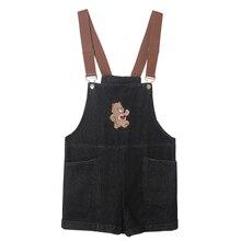 Harajuku милые женские джинсовые комбинезоны с вышивкой милого медведя винтажные женские черные джинсовые шорты