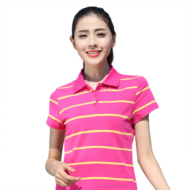 d4f1cae3 Women Polo Shirt Plus Size Summer Women Tops High Quality Cotton Shirt Hot  Sale Short Sleeve Female Slim Striped Polo Shirt