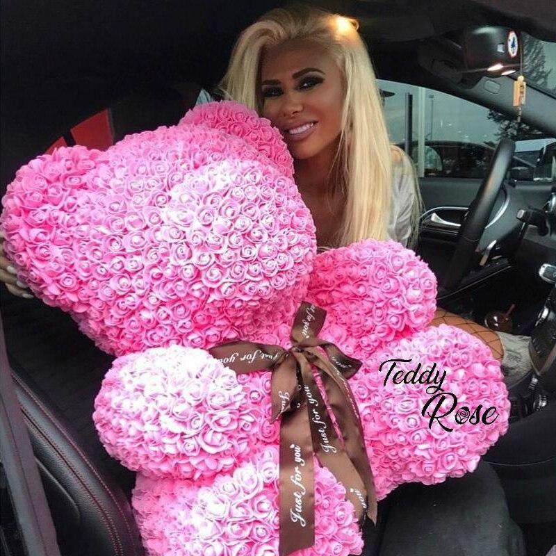 2018 venta al por mayor barata 40 cm oso rojo rosa oso de peluche rosa flor Artificial decoración regalos de Navidad para las mujeres regalo de San Valentín