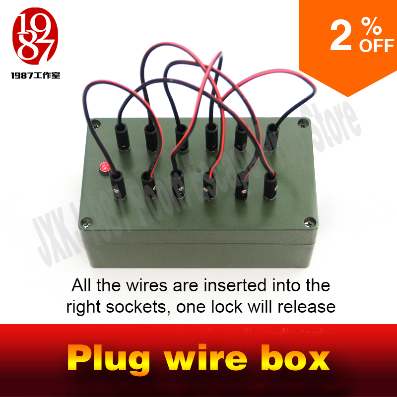 Escape room takagism game props plug wire box all the wires are inserted into the right sockets to unlock charmber room JXKJ1987 drawer box transparent box stage easy to do magic tricksperformance magician props illusion props 83137