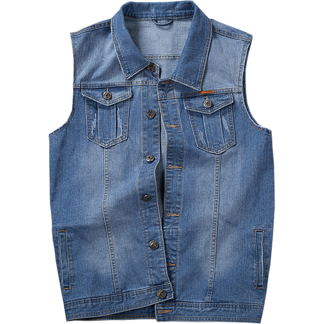 Cotton Jeans Sleeveless Jacket Men Plus Size 5XL Dark Blue Denim Jeans Vest Men Cowboy Denim Vest Mens Jackets 5XL 6XL 7XL 8XL
