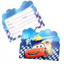 10pc/bag  Lightning Mcqueen Party Supplies Invitation Card Children Birthday Decorations For Kids Favor