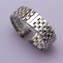 Ремешок для часов мужской из нержавеющей стали, изогнутый Серебристый браслет, однотонный брендовый, 16 мм 18 мм 20 мм 22 мм 24 мм