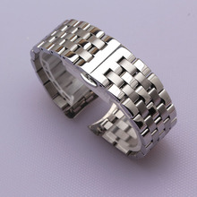 Correa de reloj de acero inoxidable de alta calidad, brazalete de plata de extremo curvado, banda sólida de 16mm, 18mm, 20mm, 22mm y 24mm para relojes de marca para hombre