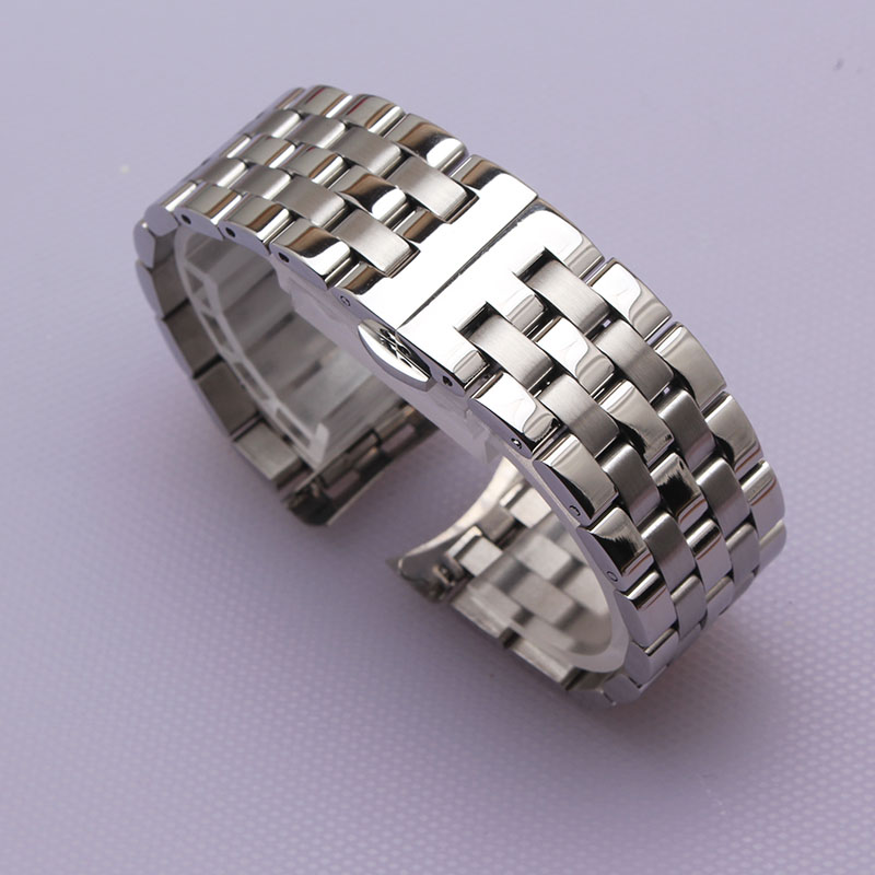 High Quality Stainless Steel Watchband Curved End Silver Bracelet 16mm 18mm 20mm 22mm 24mm Solid Band For Brand Watches Men New
