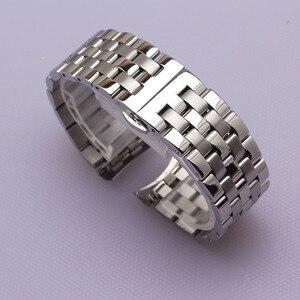 Image 1 - Yüksek Kaliteli Paslanmaz Çelik Kordonlu Saat Kavisli Son Gümüş Bilezik 16mm 18mm 20mm 22mm 24mm Katı bant marka Saatler erkekler yeni