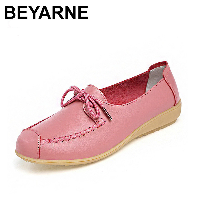 BEYARNE Women Casual Shoes Genuine Leather Printing Loafers Shoes Woman Fashion Slip On Shallow Mouth Flats Shoes minika women shoes flats loafers casual breathable women flats slip on fashion 2017 canvas flats shoes women low shallow mouth