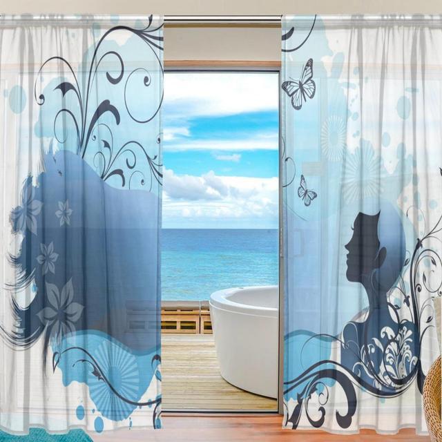 Sheer Door Curtain Panels W55xL78 Inch/W55xL84 Inch,Anime Girls Buttlefly  Blue Flowers,