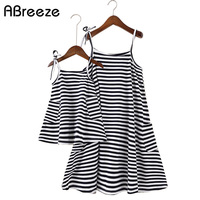 Classic Striped Style Kids Family Clothing Summer Cotton Family Matching Outfits Sleeveless Suspenders Girls Mother Beach